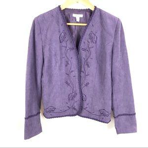 Dress Barn floral embroidered lavender blazer